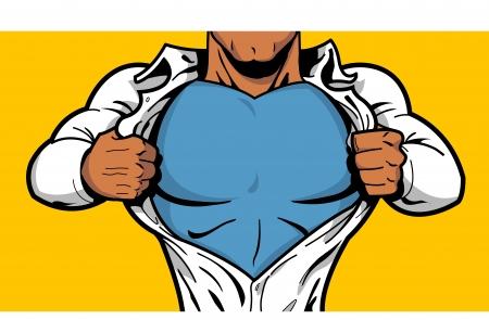 Camisa de abertura de super-herói de quadrinhos preto para revelar o traje por baixo com seu logotipo no peito Logos