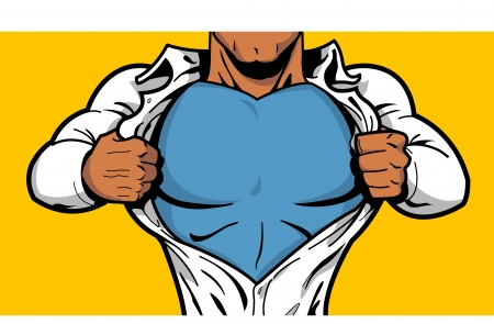 Black comic book superhero opening shirt to reveal costume underneath with Your Logo on his chest