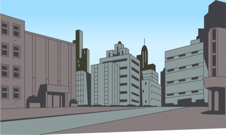 City Street Scene Background for Superhero Comics or Animation
