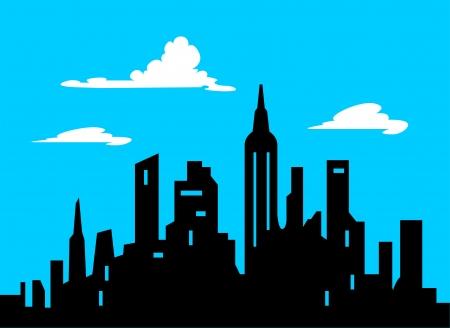 Graphic Style Cartoon City Skyline Illustration