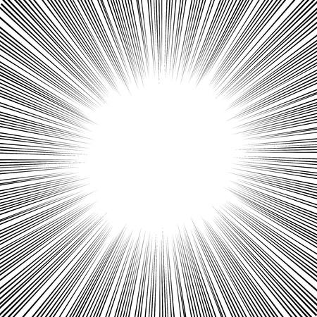 漫画本、漫画やイラストで放射状の速度ライン グラフィック効果を使用します。  イラスト・ベクター素材