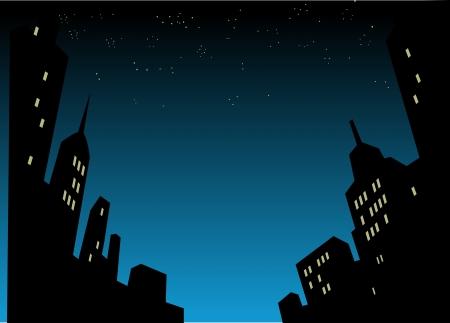 グラフィック スタイル漫画夜の街のスカイラインの背景