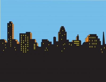 レトロ クラシック漫画スタイルの街のスカイライン