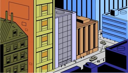 만화와 애니메이션에 대한 레트로 빈티지 도시 거리 장면 일러스트