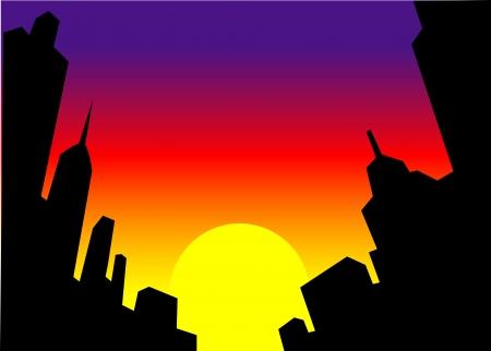 Horizon van de Stad Silhouet bij zonsondergang Stock Illustratie