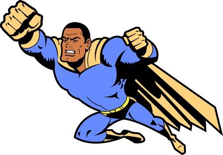 pu�os: Negro superh�roe que vuela con el pu�o cerrado