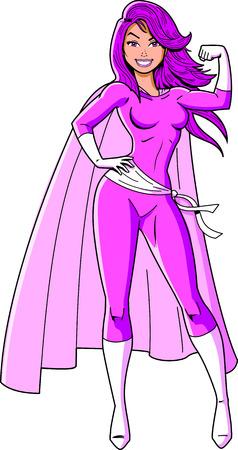 Breast cancer awareness black super woman superhero cartoon clip art vector.