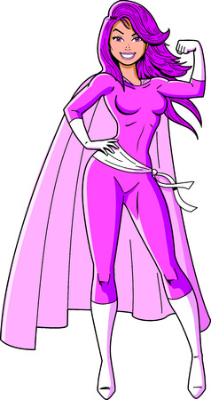 Superfrauensuperheldkarikatur-Clipartvektor des Brustkrebsbewusstseinsschwarzen. Standard-Bild - 92596470