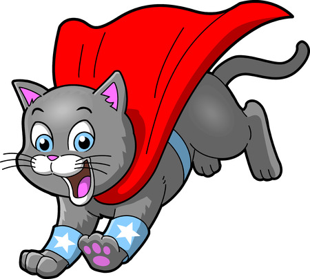 Cat superhero pet cartoon clip art vector.