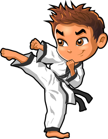 Karate martial arts tae kwon do dojo vector clip art cartoon. Иллюстрация