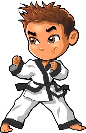 Karate vechtsporten tae kwon dojo vector illustraties cartoon. Stock Illustratie