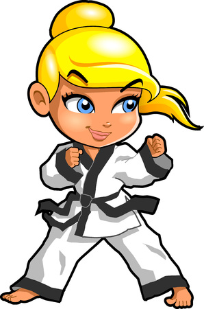 Karate martial arts tae kwon do dojo vector clip art cartoon. Stock Illustratie