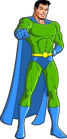 Pointing superhero mascot character clip art cartoon vector.