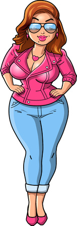 Sexy curvy woman cartoon pink leather jacket clip art.