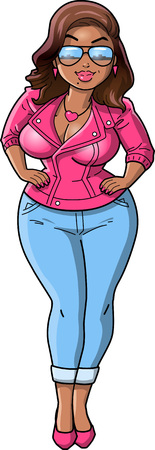 Sexy black curvy woman cartoon pink leather jacket clip art. Vettoriali