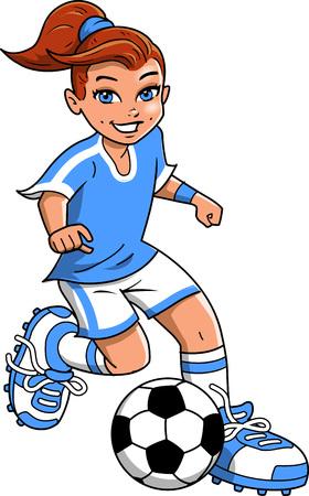 Soccer football girl player vector clip art cartoon.