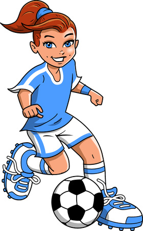 Soccer football girl player vector clip art cartoon.
