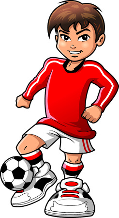 Soccer football player teen boy sports vector clip art cartoon.  イラスト・ベクター素材