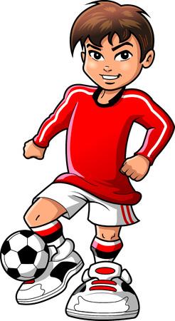 O menino adolescente do jogador de futebol do futebol ostenta desenhos animados do clipart do vetor. Foto de archivo - 92596681