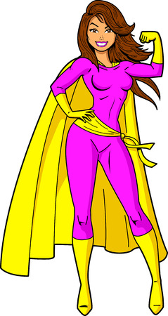 Super Woman Female Superhero cartoon clipart. Vectores