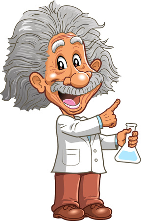 Smart teacher professor genius scientist chemistry teacher pointing cartoon clip art vector.