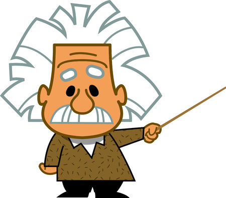 Smart teacher professor genius scientist mathematician cartoon clip art vector.