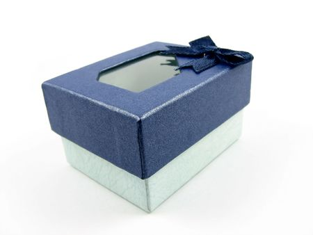 endow: A beautiful small dark blue and light green gift box with see through lid.