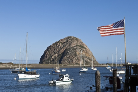 Morro Rock at Morro Bay in Central California, USA