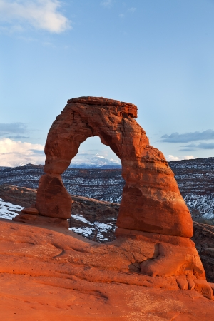 rock formation: Sunset at Famous Delicate Arch in Arches National Park, Utah
