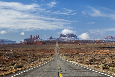 Highways go to the Navajo National Monument Valley, Utah, USA