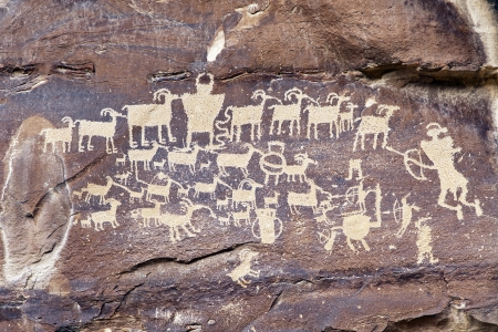 Native American Rock Art Petroglyphs-Great Hunt Panel at Nine Mile Canyon, UT