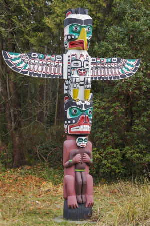 native american art: A Native American Thunderbird Totem Pole
