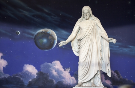 Statue of Jesus Christ is inside the North Visitors Center at Temple Square, Utah