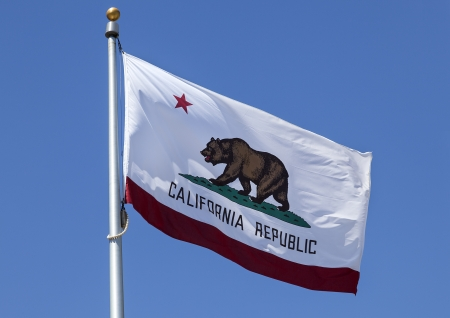 California Republic State Flag is waving in the wind with Motion Blur  Stock Photo