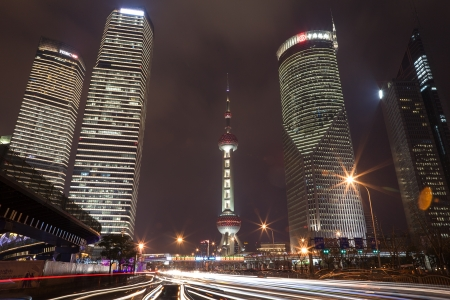 Pudong at Night in Shanghai, China Editorial