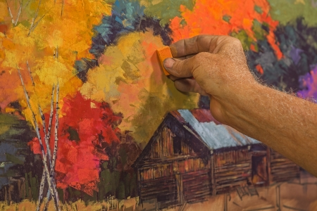 Original Hand Painting Pastel Art Being Drawn By An Artist