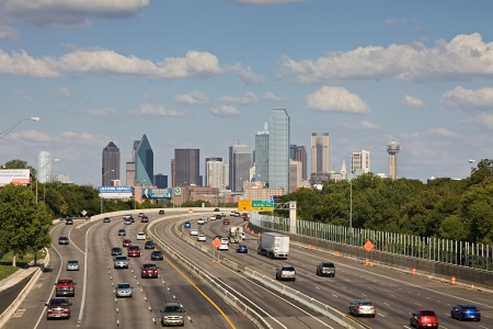 A View of Skyline Dallas at Sunny Day with Freeway Traffic, Texas, USA Editorial