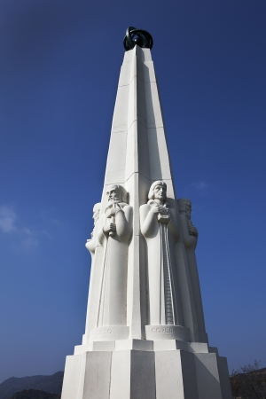 Astronomer s monument at the Griffith Observatory in Los Angeles, California Stock Photo