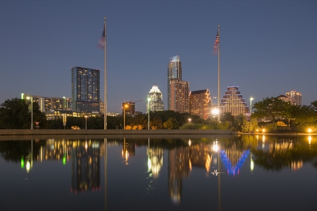 texas state flag: A View of the Skyline Austin at Night in Texas, USA Stock Photo