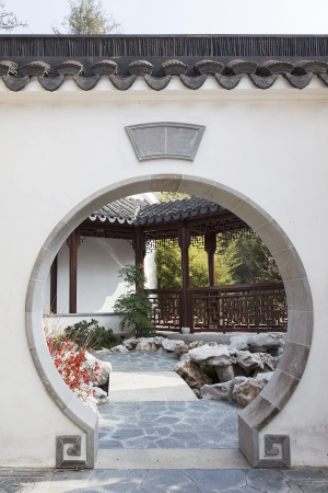 A View of Oriental Garden with Art Deco Editorial