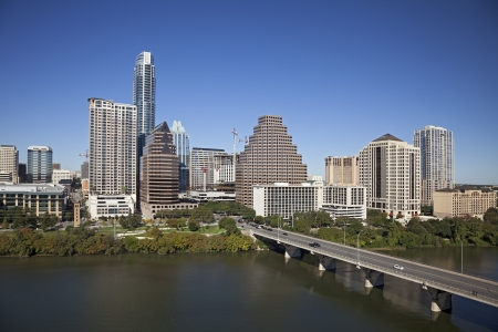 A View of the Skyline Austin at Sunny Day in Texas photo