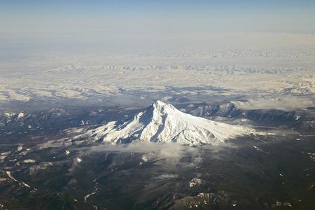 cascade range: An Aerial view of Mount Hood, Oregon