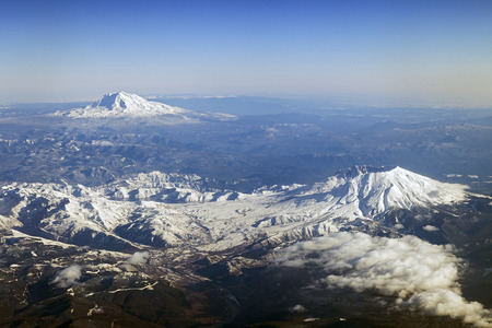 cascade range: An Aerial view of Mount St  Helens and Mt  Adams, Washington