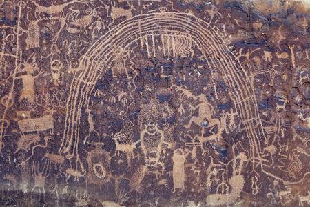Native American Rock Art Petroglyphs - Rochester Rock Art Panel, Utah Фото со стока