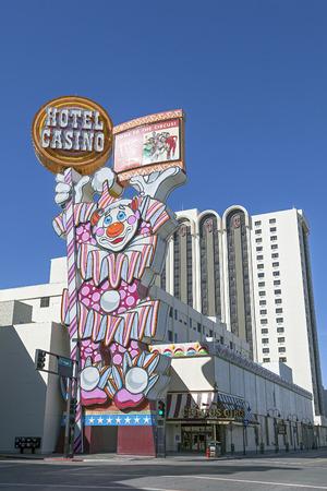 Circus Circus Hotel and Casino Clown Neon Sign on Virginia Street in Reno, Nevada   Stock Photo - 28007229