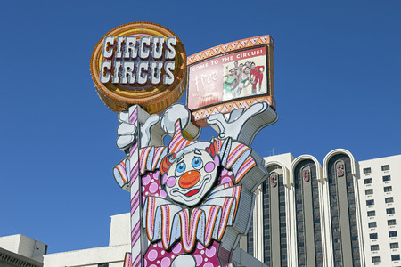 Circus Circus Hotel and Casino Clown Neon Sign on Virginia Street in Reno, Nevada   Stock Photo - 28007230