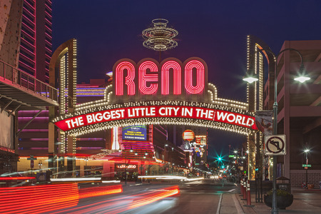 nevada: A Night shot of The Famous Arch  The Biggest Little City in the World  at Reno, Nevada