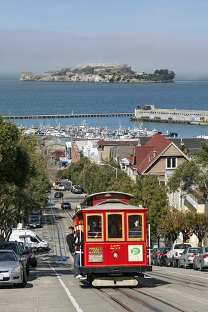 A View of Cable Car and Alcatraz Island
