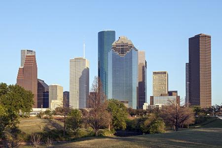 houston flag: A View of Downtown Houston, Texas