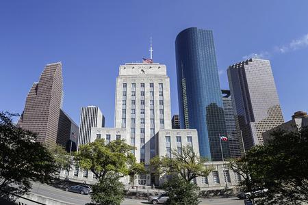 ヒューストン市庁舎、ダウンタウン、テキサス州の表示